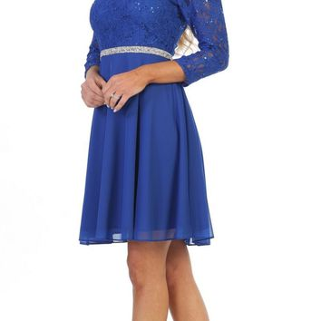 c16b9f8a8f8 Quarter Sleeved Wedding Guest Short Dress Royal Blue