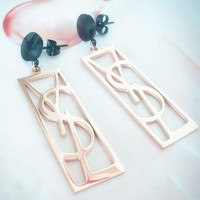 YSL new style personality temperament letter earrings exaggerated long titanium steel accessories