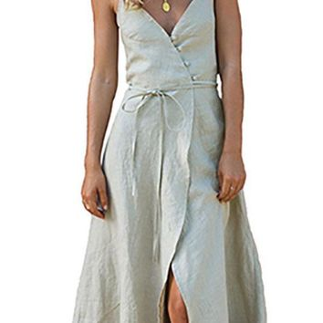 Spaghetti Strap  Asymmetric Hem  Belt  Plain  Sleeveless Maxi Dresses