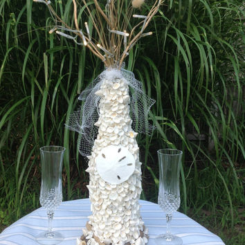 Ocean Wedding Seashell Centerpiece- Sea Shell Bride- Beach Wedding Reception- Seashell Decorations- Flameless Battery Operated LED Branches