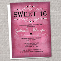 Pink Chic Rustic Fuchsia Sweet 16 Invitations - Printed or Printable