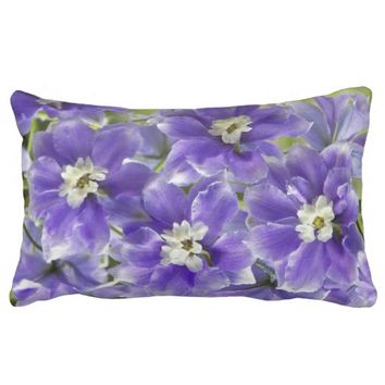 Purple Larkspur Floral Photo Lumbar Pillow