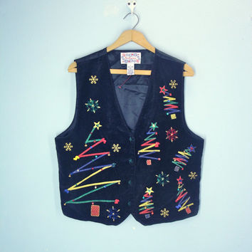 Vintage Ugly Christmas Vest, Velveteen Satin Vest,  Holiday Vest, Embroidered Vest, L