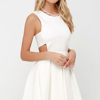 Turn Up the Pleat Ivory Skater Dress