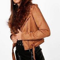 Lois Faux Fur Collar Biker Jacket | Boohoo