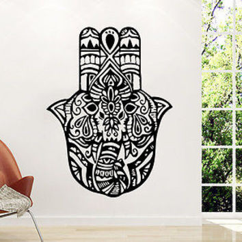 Hamsa Wall Decal Fatima Hand Vinyl Sticker Decals Lotus Flower Yoga Namaste C9