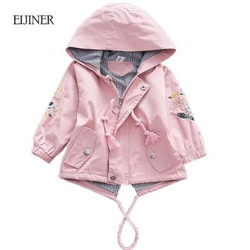 Embroidered Girls Coat 2018 Autumn Jackets For Baby Girls Jackets Kids Warm Outerwear Coats Baby Jacket Newborn Girls Clothes