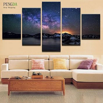PENGDA Modern Frames For Paintings 5 Panel Star Canvas Wall Art Canvas Painting Landscape Wall Pictures For Living Room HD Print