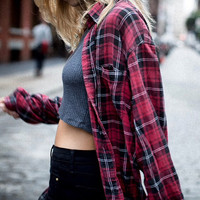 mystery plaid boyfriend flannel shirt / slouchy oversized fit / select your size