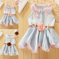Princess Girls Baby Kids Lace Belt Denim Tulle Stitching Dresses  A_L CB037309 = 1658551364