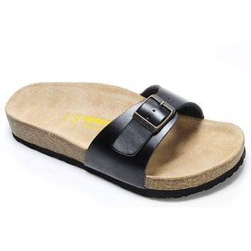 Birkenstock Madrid Sandals Leather Black - Ready Stock