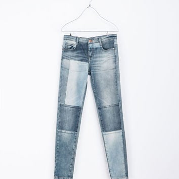 066783b6 PATCHWORK DENIM JEANS - Jeans - TRF | from ZARA | Bottoms