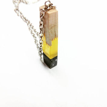 Free shipping - Concrete-resin-wood necklace