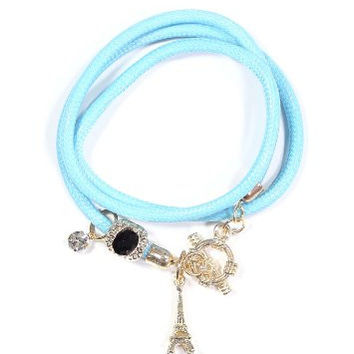 Paris France Eiffel Tower Charms Bracelet Blue Cord Gold Tone Crystal SB06 Fashion Jewelry