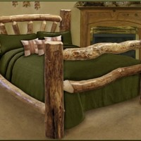 King Size Custom Aspen Log Bed