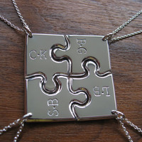 Four Corner Puzzle with two initials, Silver Pendant Necklaces