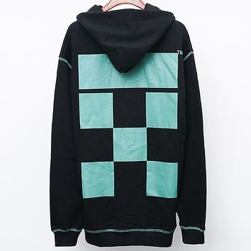 OFF-WHITE Autumn and winter tide brand new graffiti back arrow color block letter print hooded sweater black