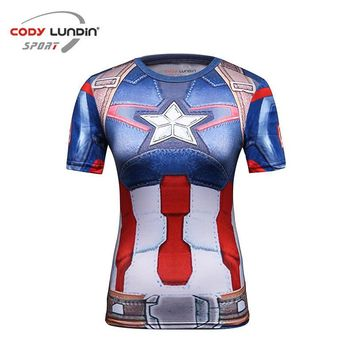 Star Wars Force Episode 1 2 3 4 5 2017  Cooling Avengers Superhero Superman Captain America Casual T Shirt Women's compression bodybuilding shirt AT_72_6