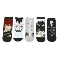 Death Note Big Face No-Show Socks 5 Pair