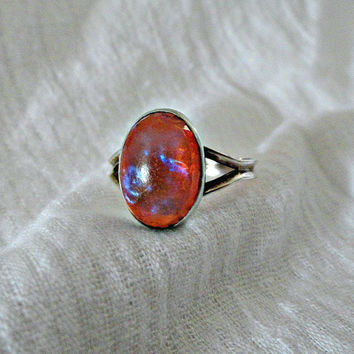 HOLD FOR Jessica - Vintage Dragons Breath Opal Sterling Ring Circa 1930's