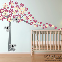 Koala bear nursery wall decal, nursery decals, kids room wall decal, nursery decor, blossom tree wall decal, koala decor, childrens decor
