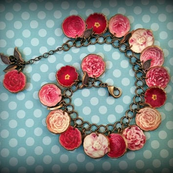 Stunning Blossom Charm Bracelet - Flower Blossom Bracelet - Flower Bracelet - Spring Fashion Bracelet - Costume Jewelry - Plastic Charms