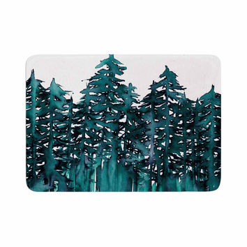 "Ebi Emporium ""Forest Through The Trees 5"" Teal White Memory Foam Bath Mat"