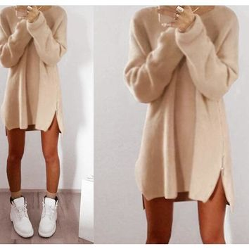 New Women Warm Knited Woolen Dresses with Zipper O-neck Long Sleeve Sweater Dress Fashion Autumn Winter Clothes +Free Christmas