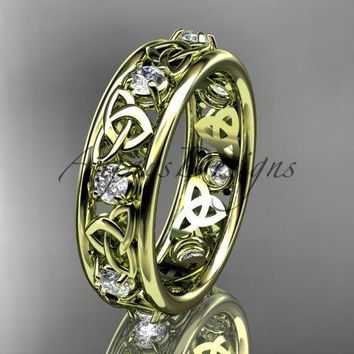 14kt yellow gold celtic trinity knot wedding band, engagement ring CT7503B