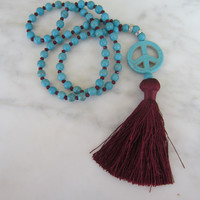 Peace Sign Necklace, Long Tassel Necklace, burgundy silk tassel, Turquoise Peace Pendant, Boho Chic, Rustic Chic, Hippie Statement Necklace