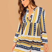 V-Cut Neck Flounce Sleeve Smock Dress