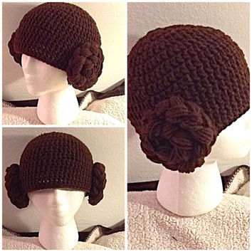 Princess Leia Crochet Beanie - all sizes - made to order