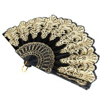 KiWarm Vintage Black Spanish Style Lace Flower Pattern Hand Fan Folding Wedding Prom Dance Hand Held Fan Home Decor Art Crafts