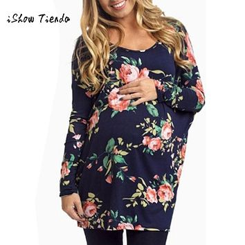 Womens pregnancy clothes Long Sleeve Blouse Flower Print Comfortable For Maternity Pregnant Woman Tops T-Shirt