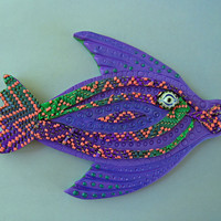 Bargello Fish 3D Fish Magnet or Wall Art in Purple, Blue, Green, Pink and Orange Polymer Clay