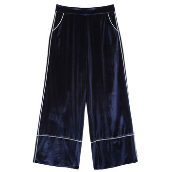 Midnight Blue Velvet Trousers