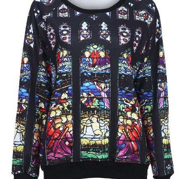Church Stained Long Sleeve Sweater- LAST ONE
