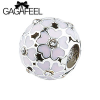 Exquisite Silver Plated Pink Enamel Cherry Blossom Flower Charm Ball Bead Fit Pandora Bracelet Bangle Necklace Accessories PZ067
