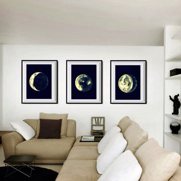 Moon Phase Print Set of 3 print watercolor painting decor nature FULL LUNAR illustration wall art decor print kid boy sky poster gray white