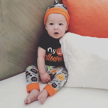 Newborn Baby Girl Clothes 2018 Halloween Pumpkin Boy Bodysuit Tiny Autumn Pants Hat 3pcs Clothing Set Baby Onesuit Costume
