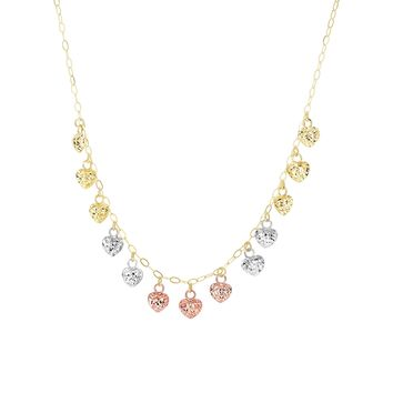 14K Yellow+Rose+White Gold Diamond Cut 13 Tri -Color Small Hanging Puffed Hearts On 1.3mm Yellow Flat Oval Link Chain Necklace with Spring Ring Cl
