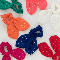 Knotted Bow Scrunchie - Coral