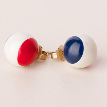 Vintage Red White and Blue Ball Post Earrings by TwiceBakedVintage