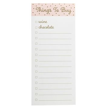 Things To Buy Magnetic Notepad in Blush Pink, Gold and White