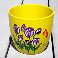 Hand Painted Yellow Flowerpot With Purple Tulips, Hand Painted Flowerpot, Painted Flowerpot, Garden Decor, Home Decor, Gifts For Her