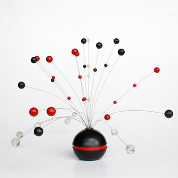 Mid Century Modern Sculpture / Atomic Home Decor / Space Age Decor / Red & Black Mariehult 60's 70's Sweden