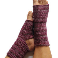 Yoga Socks Hand Knit in Purple Stripes Pedicure Pilates Dance
