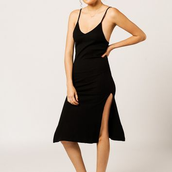 Chi Ribbed Double Slit V Dress