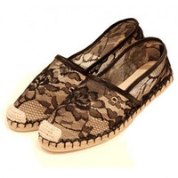 Vintage Black Lace Flat Shoes with Woven Sole