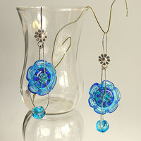Long Earrings, Dangling Glass Beads Earrings, Sterling Siver Rings Earrings, Handmade Lampwork Flower Glass Beads